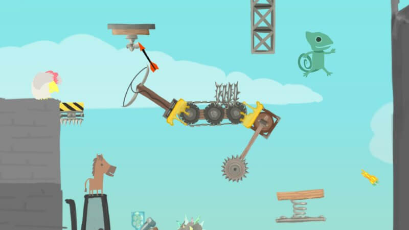 Ultimate Chicken Horse платформер для четверых